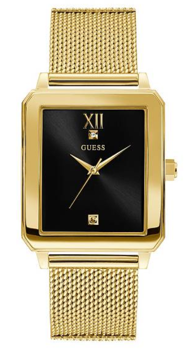 GUESS Gold-Tone and Black Rectangular U1074G3 Watch