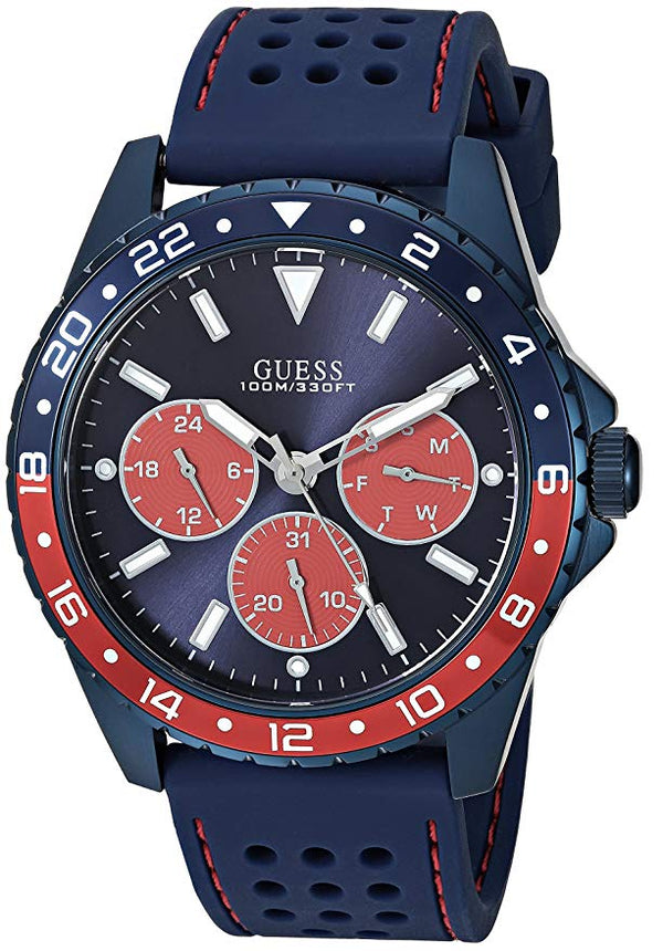 GUESS Men's Stainless Steel Texture Silicone U1108G1 Watch