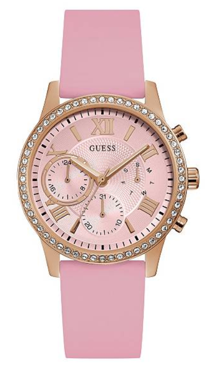 GUESS U1135L2 Rose Gold-Tone and Pink Multifunction Watch