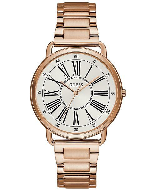 GUESS U1149L3 Women's Rose Gold-Tone Stainless Steel Bracelet Watch