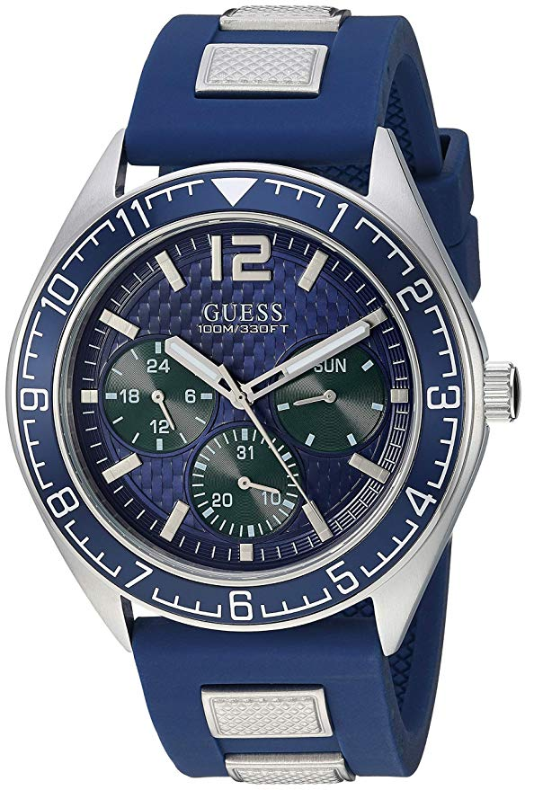 GUESS Men's Quartz Stainless Steel and Silicone Casual U1167G1 Watch