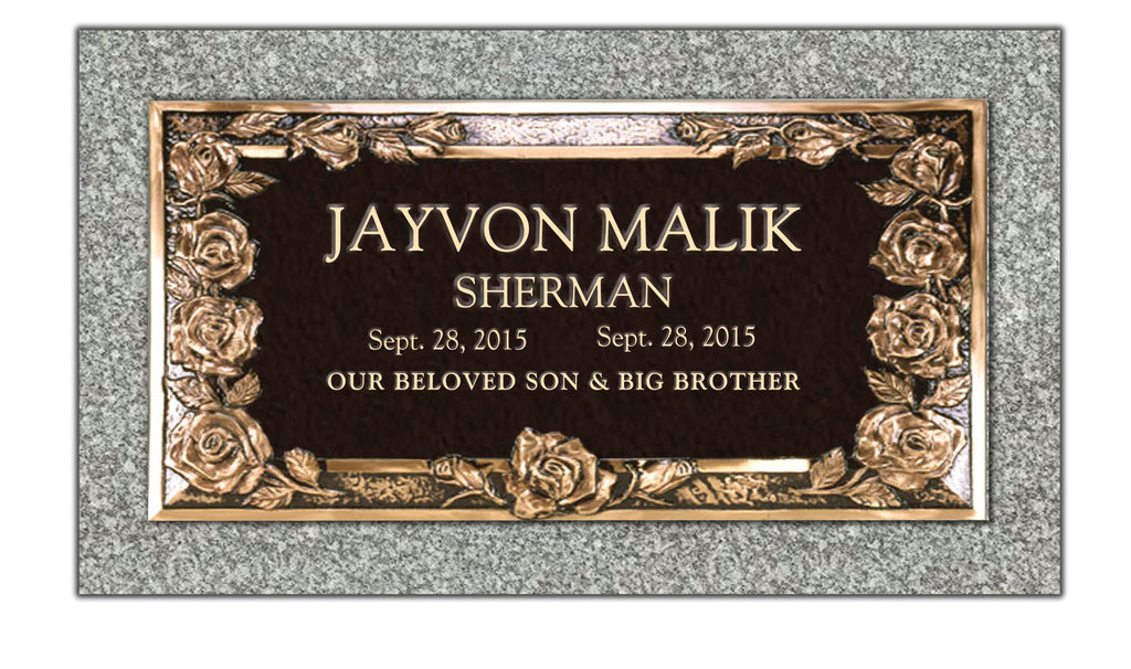 "Bronze 24""x12"" Single Memorial Marker - PRESTIGE EDITION"