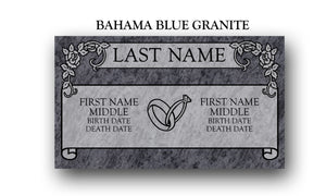 "Companion Double Flat Headstone 28"" x 16"" x 4"""