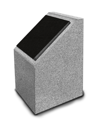 Cremation Post -Single -Freedom Gray Granite-Black Lid