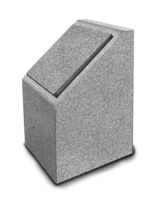 Cremation Post -Single -Freedom Gray Granite-Gray Lid