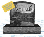 "Single Upright Monument 24"" x 6"" x 24"" Tablet -LASER ETCHED COLLECTION -JET BLACK"