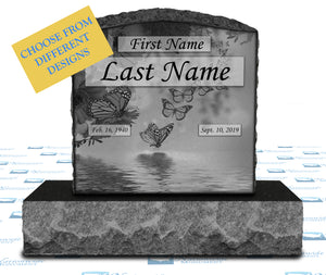 "Single Upright Monument 20"" x 6"" x 20"" Tablet -LASER ETCHED COLLECTION -JET BLACK"