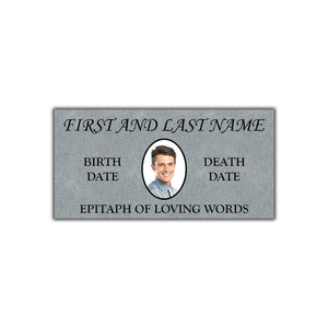 "Flat 24""x12""x4"" Headstone Marker with Oval Picture"