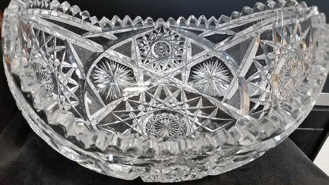 ABP CUT glass orange bowl antique - O'Rourke crystal awards & gifts abp cut glass