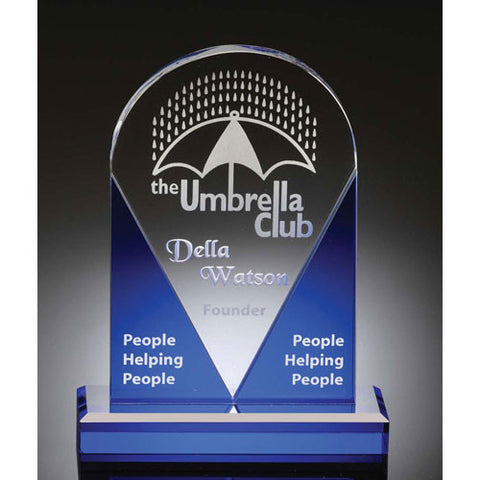 "Domed 8"" Sapphire & Crystal Award - O'Rourke crystal awards & gifts abp cut glass"