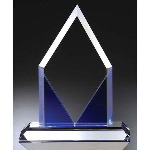 Blue Diamond Shaped Peak Award - O'Rourke crystal awards & gifts abp cut glass