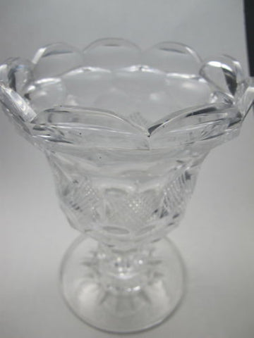 Hand cut old glass pedestal vase  honeycomb - O'Rourke crystal awards & gifts abp cut glass