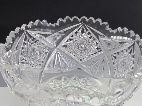 American Brilliant Period hand Cut Glass and mouth blown bowl abp hobstar - O'Rourke crystal awards & gifts abp cut glass