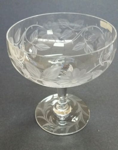 Wheel engraved compote floral - O'Rourke crystal awards & gifts abp cut glass