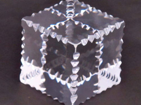 Hand Cut Glass paperweight, notched and prism, optical crystal clear - O'Rourke crystal awards & gifts abp cut glass