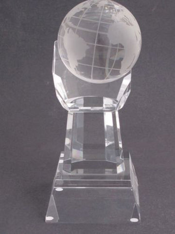 "World Globe optical GLASS  in hand 5.25"" high, Award Gift boxed - O'Rourke crystal awards & gifts abp cut glass"