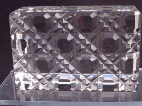 Hand Cut Glass paperweight, DEEP CUT 24% lead crystal - O'Rourke crystal awards & gifts abp cut glass