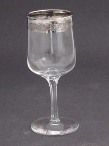 "Lenox etched  wine glass .7"" platinum band Crystal  Made in USA Mt Pleasant PA - O'Rourke crystal awards & gifts abp cut glass"