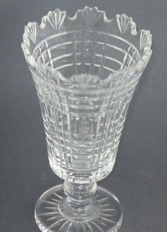 Signed Waterford Hand Cut Glass Footed Vase Irish Crystal Orourke