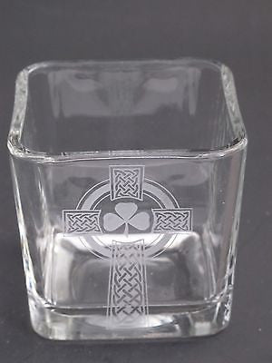 Glass candle votive, Celtic  shamrock cross  gift Can be customized - O'Rourke crystal awards & gifts abp cut glass