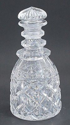 Hand Cut glass faceted 3 ring neck decanter crosscut with mushroom stopper - O'Rourke crystal awards & gifts abp cut glass