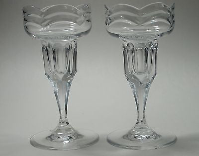 CUT GLASS pair  candle sticks - O'Rourke crystal awards & gifts abp cut glass