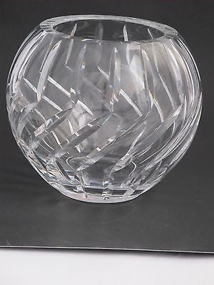 Hand Cut Glass hand  polished rose bowl / vase - O'Rourke crystal awards & gifts abp cut glass