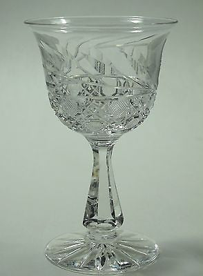 Cut glass wheel etched wine stemware bell shape glass Hand cut - O'Rourke crystal awards & gifts abp cut glass
