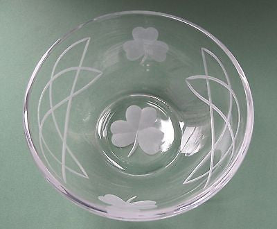 Hand cut glass bowl, Celtic  shamrock  gift Can be customized - O'Rourke crystal awards & gifts abp cut glass
