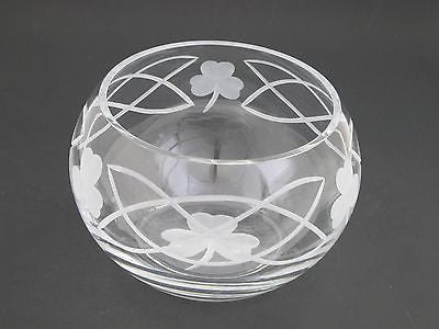 Hand cut lead crystal bowl, Shamrock celtic  Mouth blown, gift - O'Rourke crystal awards & gifts abp cut glass