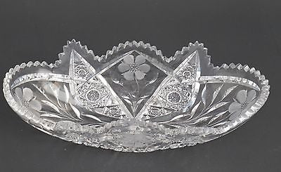 American Brilliant Period Cut Glass oblong bowl, Antique - O'Rourke crystal awards & gifts abp cut glass