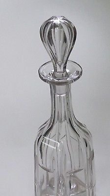 Hand Cut glass  decanter fluting and miter cut antique - O'Rourke crystal awards & gifts abp cut glass