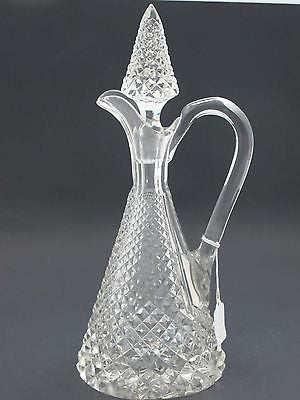 Hand Cut glass handled decanter  crosscut with stopper - O'Rourke crystal awards & gifts abp cut glass