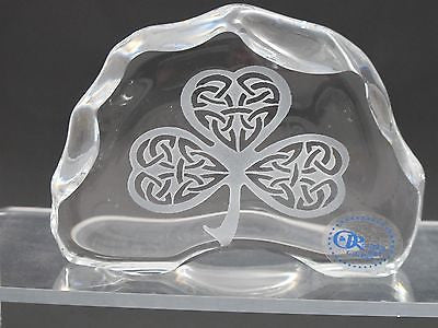 Celtic shamrock pattern paperweight, 24% lead crystal Great gift - O'Rourke crystal awards & gifts abp cut glass