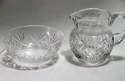 Hand Cut glass mini sugar & creamer ideal for Leprechaun or Doll house - O'Rourke crystal awards & gifts abp cut glass