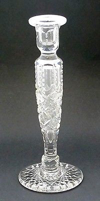 American Brilliant Period Cut Glass candle stick  Antique - O'Rourke crystal awards & gifts abp cut glass