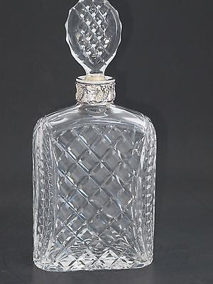 Hand Cut glass silver ring neck decanter oval stopper Portugal - O'Rourke crystal awards & gifts abp cut glass