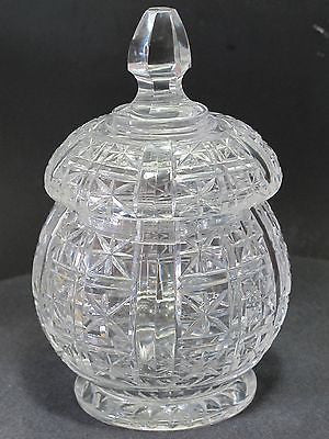 Hand Cut glass jar with lid - O'Rourke crystal awards & gifts abp cut glass