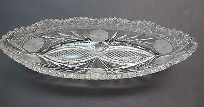 American Brilliant Period hand Cut Glass canoe dish abp antique - O'Rourke crystal awards & gifts abp cut glass