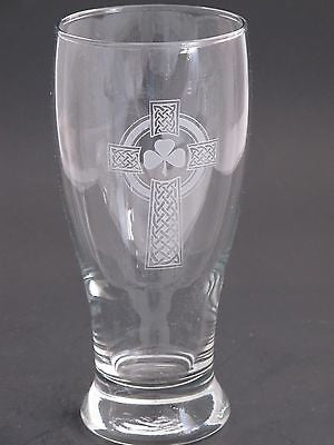 Beer glass, Celtic  shamrock cross  gift Can be customized  16oz - O'Rourke crystal awards & gifts abp cut glass