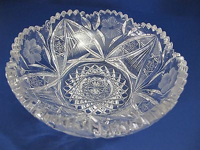 American Brilliant Period hand Cut Glass Antique  bowl ABP, Wedding gift - O'Rourke crystal awards & gifts abp cut glass