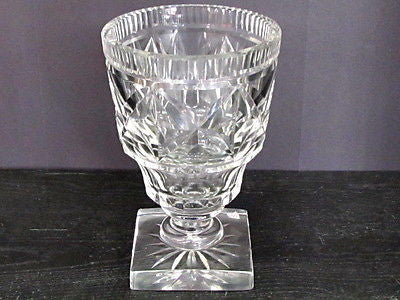 Old Cut Glass  vase Antique Crystal square base - O'Rourke crystal awards & gifts abp cut glass