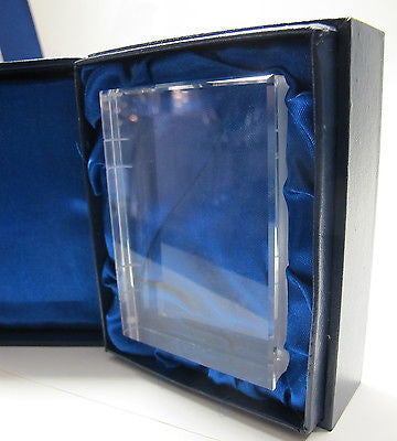 Hand Cut Glass book paperweight, hand cut crystal - O'Rourke crystal awards & gifts abp cut glass