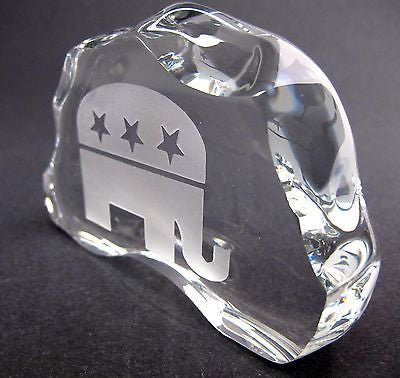 GLASS  24% LEAD CRYSTAL PAPERWEIGHT republican made in USA - O'Rourke crystal awards & gifts abp cut glass