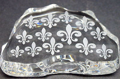 Cut Glass  fleur de lis pattern paperweight, 24% lead crystal - O'Rourke crystal awards & gifts abp cut glass