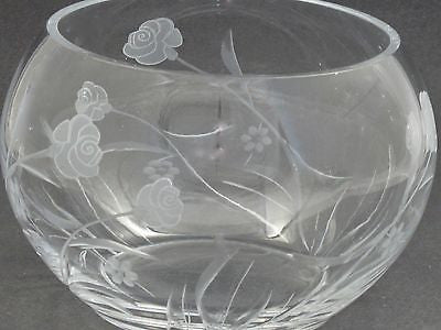 Hand cut glass bowl, Frosted rose and polished hand stems Can be customized - O'Rourke crystal awards & gifts abp cut glass