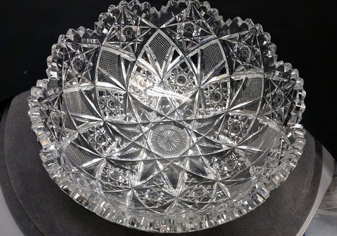 Signed Hawkes American Brilliant Period hand Cut mouth blown blank bowl - O'Rourke crystal awards & gifts abp cut glass