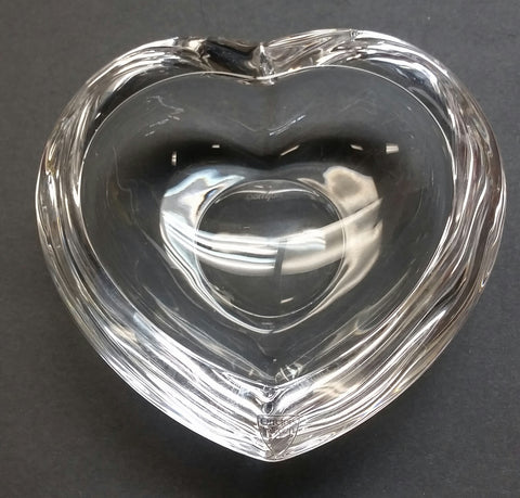 Signed Orrefors glass heart shape dish  crystal - O'Rourke crystal awards & gifts abp cut glass