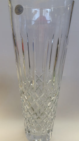 "Hand cut crystal vase 17"" high hand polished"