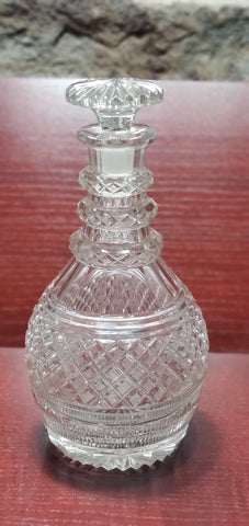 Hand Cut glass 3 ring neck decanter with mushroom stopper Antique